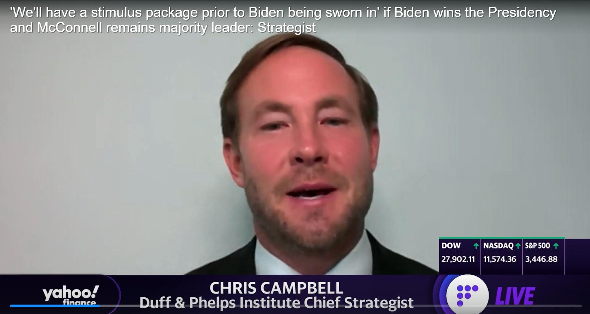 'Chúng ta sẽ có một gói kích thích trước khi Biden tuyên thệ nhậm chức' nếu Biden thắng