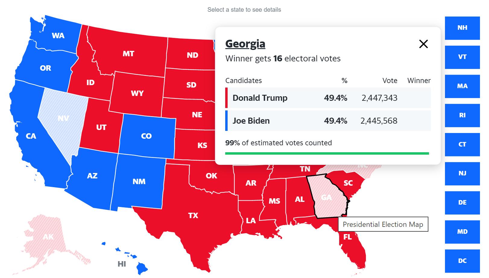 UPDATE: 10:35 PM EST Biden chỉ còn bị dẫn hơn 1,700 phiếu ở Georgia với 14 ngàn phiếu còn để đếm